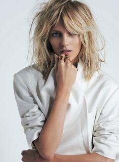 anjarubik, anja rubik, fashion, hair colors, messy hair, long hair, blonde highlights, white shirts, beauti