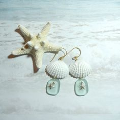 Seashell Earrings, Mermaid's Tears, Seaglass, Sea Glass ideas crafts, shells, starfish, ocean tumbled (by ShellScapes on Etsy)