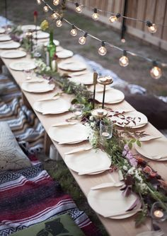 table settings, receptions, layer cakes, dinners, dinner parties, string lights, table runners, long tables, tabl set