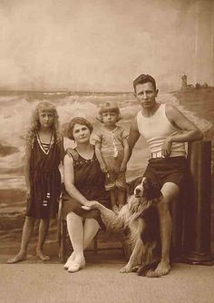 Family photo by the beach. c.1920's.