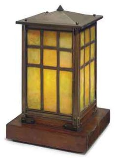ATTRIBUTED TO ROYCROFT  A COPPER, LEADED GLASS AND OAK TABLE LAMP, CIRCA 1910