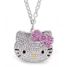 Large Silver Hello Kitty Crystal CZ Necklace with Pink Bow, Rhodium Plated, Teen Celebrity Pendant $19.99