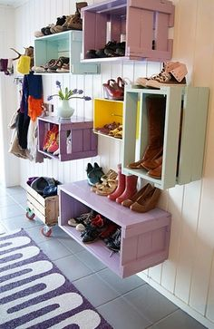 Crates made pretty! Great organization for shoes, etc. The drop box from Lowe's. Used for many different things.