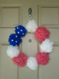Luffa Memorial Day or 4th of July door wreath