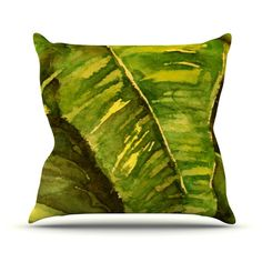 "Rosie Brown ""Tropical Garden"" Leaf Green Throw Pillow 