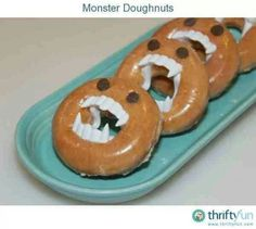 Would do it with home-made baked doughnuts. Kids get to use fangs afterwards, too.
