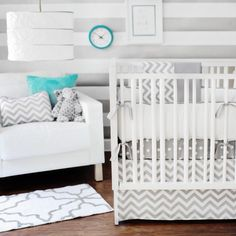 gray and white stripes with chevron bedding