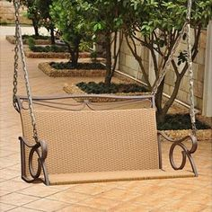 Valencia Outdoor wicker hanging patio loveseat swing