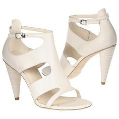 Via Spiga Izzy Ivory Leather Buckle Strappy Cone Heels Sandals (8.5M, Cream)