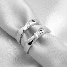 Name Engraved Birthday gift couple rings swiss diamond - $37
