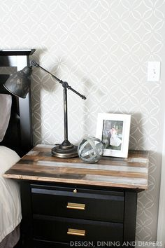 Easily give your side table a rustic look using ScotchBlue Tape, a wood slab and stain!