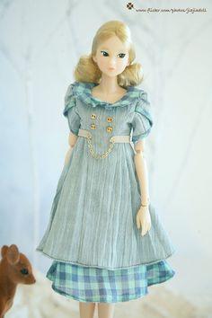 jiajiadoll   blue checked dress  fit momoko or by jiajiadoll, $34.00