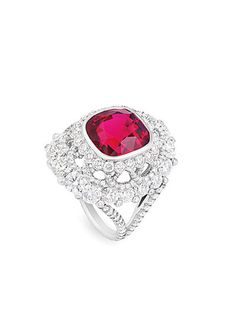 1920s fashion, Fabergé platinum, spinel, and diamond ring