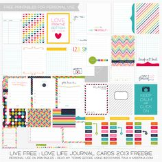 Printables -- 73 FREE Journal Cards updated for 2013! From Miss Tiina's Live Free: Love Life Collection! So happy she updated this set for 2013 :) She's one of my favorite designers for Free PL printables! -CLM