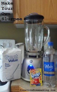 Do you or your kids love slurpees from 7-11? This homemade version might get you to start making your own at home! end of year treats, at home, homemad slurpe, kids drinks recipes, homemade kids drinks, homemad version, food, 711, slurpee recipe