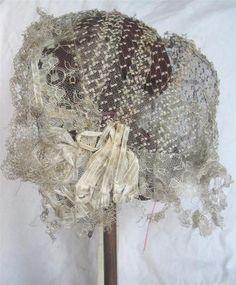 1850s blond lace cap