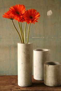 concrete cylinder #vase #flowers #home #vessel