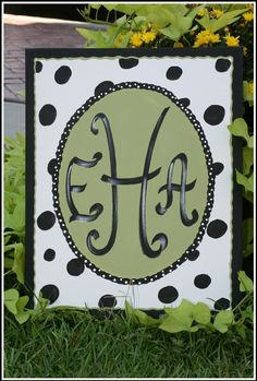 hand painted monograms on canvas