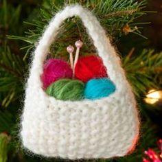 Insanely Cute Yarn Basket Ornament | FaveCrafts.com