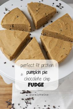 Pumpkin pie protein chocolate chip fudge! So quick to make and healthy too! Recipe from purelytwins.com
