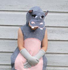 Handmade Hungry Hippo Costume Pink Grey Gray Zoo Animal  Hippopotamus Halloween School Play Dress Up Gift Idea Jungle Book