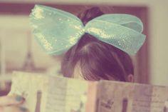 girl hair, fashion, blue, ribbon, book, thought, bows, girl photography, bang