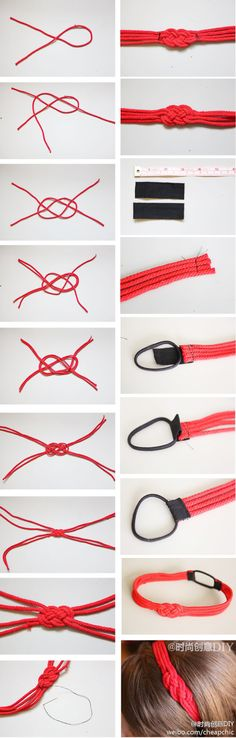 Homemade Chinese knot hair bands