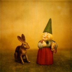 Gnome and Rabbit by esoule on Etsy