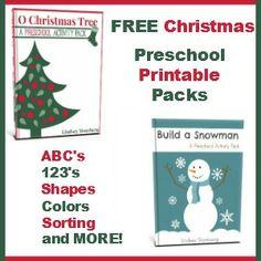 FREE snowman & Christmas tree preschool printable packs