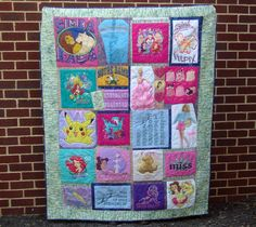 """""""THIS IS HOW I GREW UP""""  60""""x 80""""  Sarah is turning 18 and just graduated from high school. Her mom kept some of Sarah's t-shirts and nightgowns since she was a little girl and asked me to make this t-shirt memory quilt as a birthday-graduation present.    Her mom wants the quilt to """"remind her who she was as she became all that she is"""".  QUILTS BY MARISELA."""