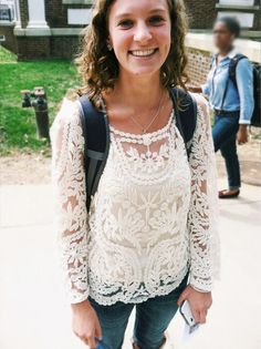 "A student from UVa was photographed wearing a Gladiola Girls (Boone, NC) top for the ""What Would Wahoo Wear?"" blog!"