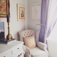 Reading nook glamour. Lavender & gold.