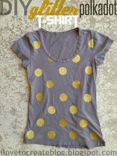 DIY Glitter Polkadot T-Shirt