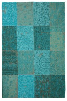 Turquoise patchwork rug - a cheaper version of the vintage patchwork of Persian rugs that I fell in love with  - to go under the coffee table in the living room
