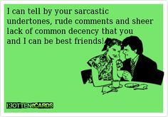 I can tell by your sarcastic undertones, rude comments and sheer lack of common decency that you and I can be best friends!