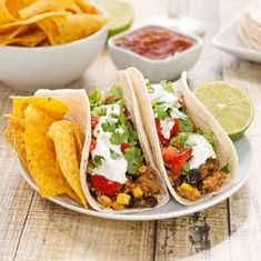 Quinoa, Black Bean and Corn #Tacos...A protein-rich #vegetarian meal even meat lovers will love! #quinoa