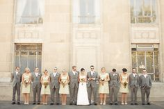 wedding parties, gray suit, grey suits, color, group pictures, shade, future wedding, shabby chic weddings, garden weddings