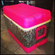 Pink camo ice chest