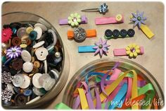 Cute baby shower idea- making hair clips for baby girl