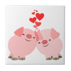 Cute Cartoon Pigs in Love Tile #tile #cheerfulmadness #love #kawaii #pigs #cartoon - additional information: you can actually put the tiles on your wall in your bathroom or kitchen but just be careful not to use abrasive sponges or substances to clean them.
