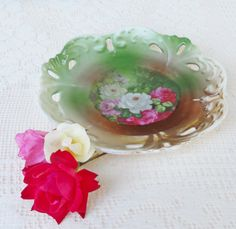 Deep Green and Roses Ornate Bowl  Vintage by RosebudsOriginals, $29.95