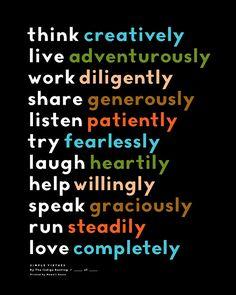 chariti print, inspir, virtue quotes