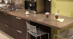Caesarstone Lagos Blue 4350- kitchen counter with espresso cabinets.