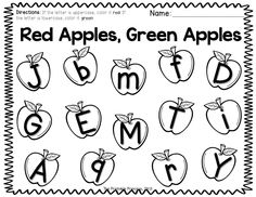 Tons of fall math and literacy centers for Kinders. Includes additional print and go activities for extra practice! Like this one.. color the apples with uppercase letters red. Color the lowecase letters green.
