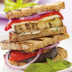 Recipe of the day: This delicious Italian-style Grilled Eggplant Panini has loads of delectable flavor for little calories — plus plenty of good-for-you nutrients like fiber and protein. Bonus: This panini cooks in just 10 minutes! #quickmeals #easymeals #healthyrecipes #panini #recipe #10minutemeal #eggplant