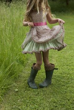 Little girls  boots, my fave staple outfit for my own daughters :) ~Lulu pastel, little girls, kids fashion, the dress, children, the farm, dance, boots, country