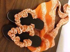 Beach bag with crochet flip flops