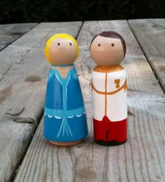 Cinderella and her Prince Charming wood peg doll by KrisTeenyTinys, $15.00