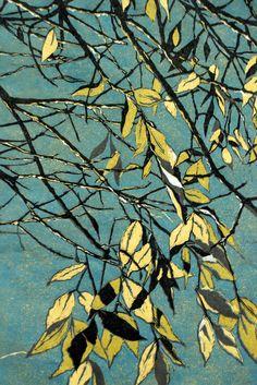birches, lino cut prints, printmak, art, river birch