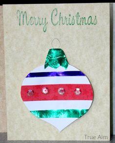 Handmade Christmas Ornament Cards kids can make! christmas crafts, handmad christma, ornament card, christmas ornaments, christma ornament, christma craft, handmade christmas cards, card kid, free ornament
